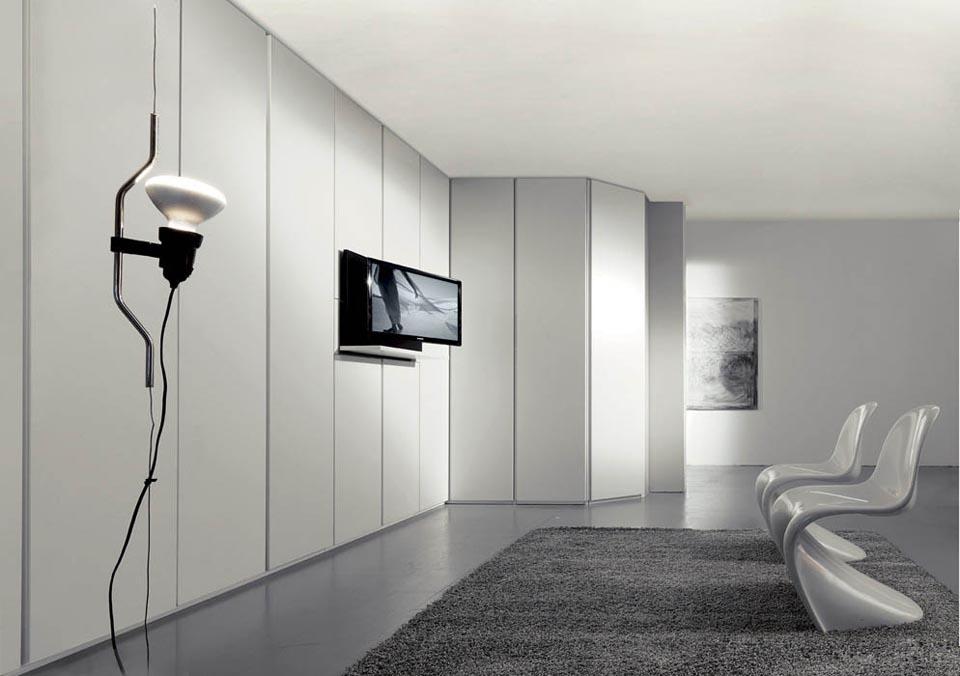 Parete attrezzata camere moderne for Parete attrezzata angolare